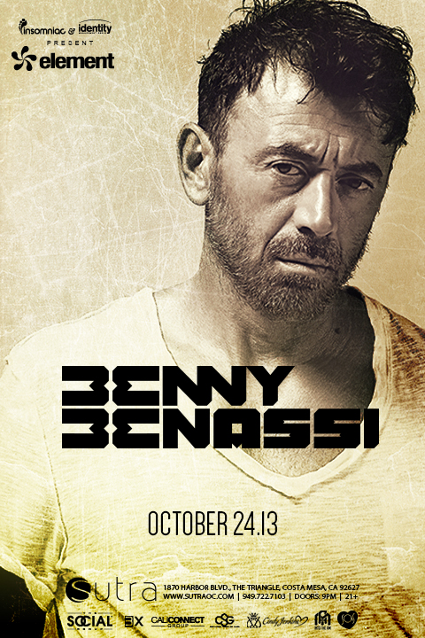 Win A PAIR OF TICKETS to… Benny Benassi at Sutra!