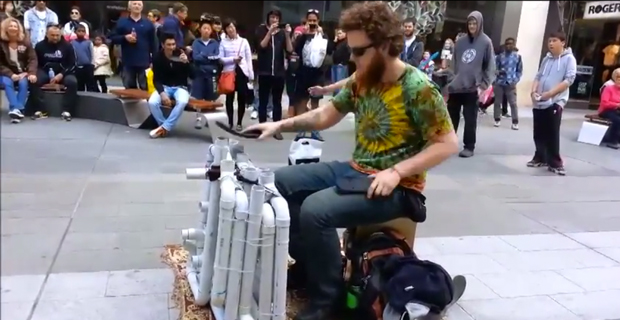 This Dude Plays EDM Songs With PVC Pipes and Flip Flops